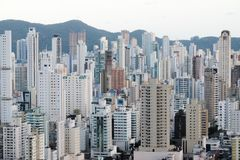 Brazil, Balneario Camboriu, 02.11.2017:  Aerial city view from t. He top of the hill Royalty Free Stock Images
