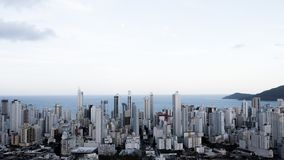 Brazil, Balneario Camboriu, 02.11.2017:  Aerial city view from t. He top of the hill Stock Photos