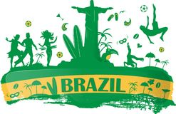 Brazil banner with icon. Set Royalty Free Stock Images