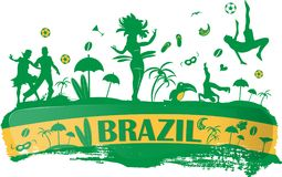 Brazil banner. With silhouette icon Stock Photos