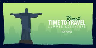 Brazil banner. Time to Travel. Journey, trip and vacation. Vector flat illustration. Royalty Free Stock Image