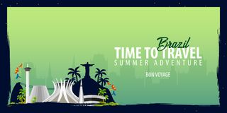 Brazil banner. Time to Travel. Journey, trip and vacation. Vector flat illustration. Brazil banner. Time to Travel. Journey, trip and vacation. Vector flat Royalty Free Stock Photos