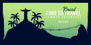 Brazil banner. Time to Travel. Journey, trip and vacation. Vector flat illustration. Brazil banner. Time to Travel. Journey, trip and vacation. Vector flat Stock Photo