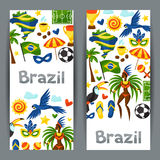 Brazil banners with stylized objects and cultural Royalty Free Stock Photography