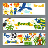 Brazil banners with stylized objects and cultural Royalty Free Stock Images