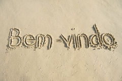 Brazil Bem-Vindo Welcome Message in Sand Stock Photos