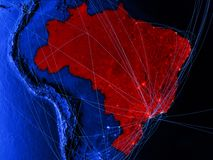 Brazil on blue digital map with networks. Concept of international travel, communication and technology. 3D illustration. Elements. Of this image furnished by stock illustration