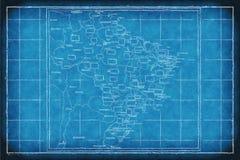 Brazil blue print network. Map of Brazil on a blue print stock illustration