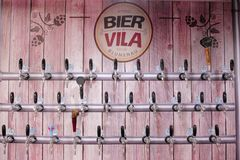 Brazil, Blumenau, Bier Vila, 5.11.2017: Silver beer taps in the royalty free stock photography