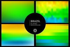 Brazil blurred backgrounds set. Abstract blurred backgrounds set in Brazil flag concept. Used in cover design, website background, greeting card and advertising stock illustration