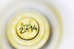 Brazil 2014. On the bottom of a glass of beer Stock Photo