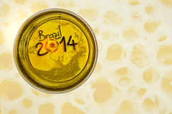 Brazil 2014. On the bottom of a glass of beer Royalty Free Stock Photography