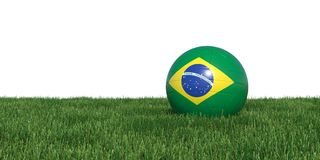 Brazil Brazilian flag soccer ball lying in grass world cup 2018. Isolated on white background. 3D Rendering, Illustration Royalty Free Stock Image