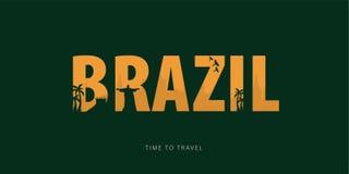 brazil Bunner di viaggio con le siluette delle viste Tempo di viaggiare Illustrazione di vettore illustrazione vettoriale