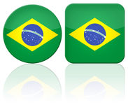 Brazil button flag. Illustration with two big brazilian flag button, round and square Stock Images