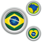 Brazil Buttons with heart, map Stock Photography