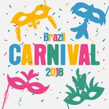 Brazil carnival background with carnaval masks and color confetti. Festive holiday banner. Vector. Brazil carnival background with carnaval masks and color Royalty Free Stock Photo