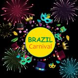 Brazil carnival background with colour masks and fireworks. Bright Brazil carnival background with colour masks, hats and fireworks. Vector paper illustration Royalty Free Stock Photography