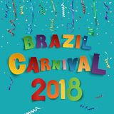 Brazil carnival 2018 background with confetti and colorful ribbons. Greeting card, poster or brochure template. Vector illustration Stock Photography