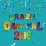 Brazil carnival background. Brazil carnival background with confetti and colorful ribbons. Vector illustration Stock Image