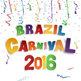 Brazil carnival background. Brazil carnival background with confetti and colorful ribbons on white background. Vector illustration Royalty Free Stock Photography