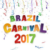 Brazil carnival 2017 background with confetti and ribbons. Brazil carnival 2017 background with confetti and colorful ribbons on white background. Vector Royalty Free Stock Photos