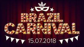 Brazil Carnival Banner Vector. Carnival Lamp Background. For Musical Party Banner Design. Retro Illustration royalty free illustration
