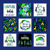 Brazil Carnival. Bright festive templates. Royalty Free Stock Photo