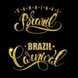 Brazil Carnival glittering lettering design. Royalty Free Stock Image