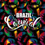 Brazil Carnival lettering design on a bright background with abstract feathers. Royalty Free Stock Images