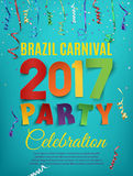 Brazil Carnival 2017 party poster template. Brazil Carnival 2017 party poster template with confetti and colorful ribbons on blue background. Vector Stock Photos