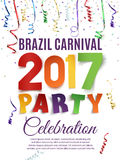 Brazil Carnival 2017 party poster template. Brazil Carnival 2017 party poster template with confetti and colorful ribbons on white background. Vector Stock Photography