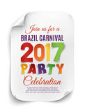 Brazil Carnival 2017 party poster. Brazil Carnival 2017 party poster template on white background. Vector illustration Stock Images