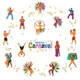Brazil Carnival poster or banner design with dancing people character and bunting decoration. stock illustration