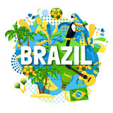 Brazil Carnival Poster. Colorful poster with native symbols of brazil mixed together on the white background vector illustration Stock Photo