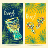 Brazil carnival symbols. Drum tam tam, maracas and palm leaves. Design concept for greeting card, banner, invitation for brazil party. Vector illustration Stock Photos