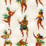 Brazil carnival. Vector seamless pattern with flat characters. Brazilian samba dancers of the carnival in Rio de Janeiro. Girls and boys in festive suits Stock Image