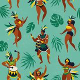 Brazil carnival. Vector seamless pattern with flat characters. Brazilian samba dancers of the carnival in Rio de Janeiro. Girls and boys in festive suits Stock Photo