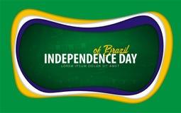 brazil Cartolina d'auguri di festa dell'indipendenza stile del taglio della carta illustrazione di stock