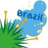 Brazil Cartoon Illustration Editable With Background Stock Photos