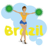 Brazil Cartoon Illustration Editable With Background Royalty Free Stock Images