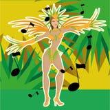 Brazil Cartoon Illustration Editable With Background Stock Photo