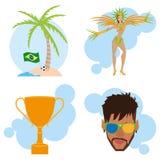 Brazil Cartoon Illustrations Editable With Background Stock Image