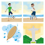 Brazil Cartoon Illustrations Editable With Background Royalty Free Stock Photos