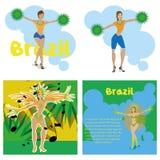 Brazil Cartoon Illustrations Editable With Background Stock Photo