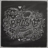 Brazil 2014 On Chalkboard. Brazil Summer 2014 Vector footbal hand lettering and doodles elements background Royalty Free Stock Photography