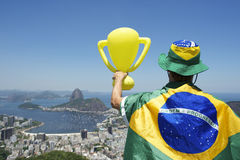 Brazil Champion Holding Trophy Wrapped in Brazilian Flag Rio Stock Photos