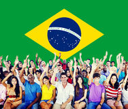 Brazil China National Flag Group of People Concept Royalty Free Stock Image
