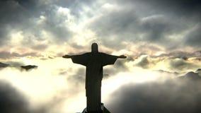brazil christ de janeiro redeemer rio Video för flyg- sikt royaltyfri illustrationer