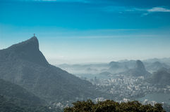 Brazil. Christ Redeemer statue and sugar loaf Stock Photos